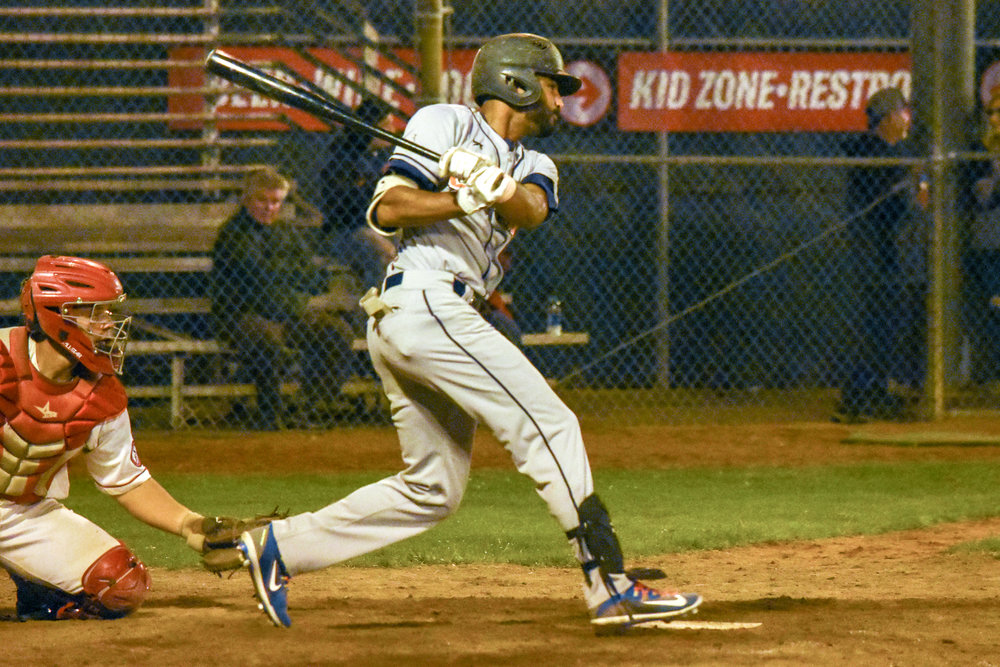 Marcus Bradley follows through on his ninth-inning single before scoring the deciding run in the Sonoma Stompers game against the Napa Silverados, July 26, 2018 in Napa, Calif. (James W. Toy III / Sonoma Stompers)