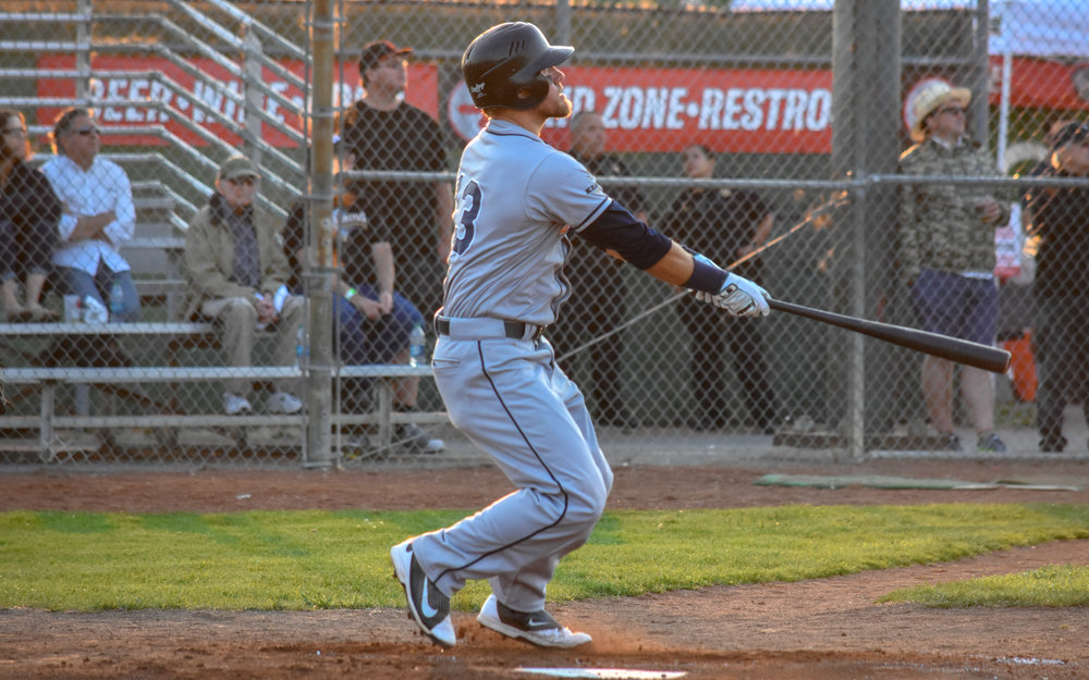 Kevin Farley watches his home run leave the ballpark in the Sonoma Stompers game against the Napa Silverados, July 27, 2018 in Napa, Calif. (James W. Toy III / Sonoma Stompers)