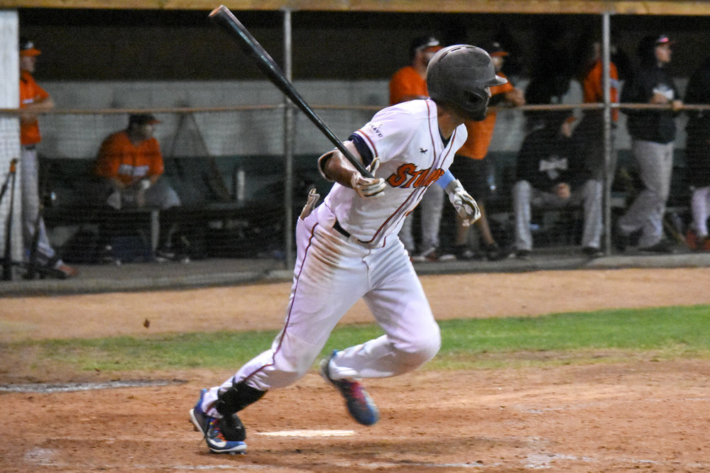 Marcus Bradley had a walk-off single in the Sonoma Stompers game against the Pittsburg Diamonds, July 28, 2018 in Sonoma, Calif. (James W. Toy III / Sonoma Stompers)