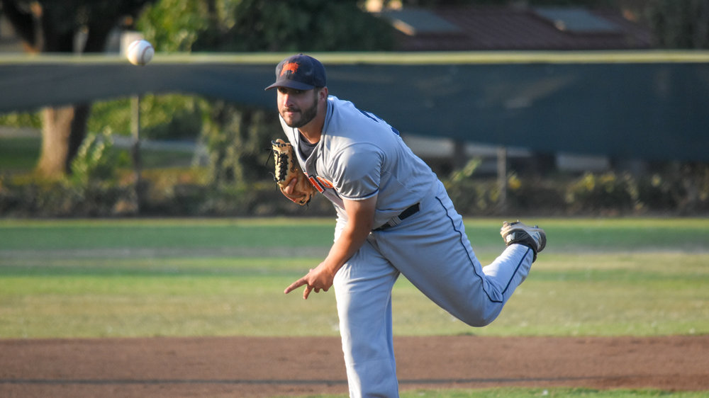 Kenny Mathews delivers a pitch in the first inning of the Sonoma Stompers game against the Vallejo Admirals, August 14, 2018 in Vallejo, Calif.(James W. Toy III / Sonoma Stompers)