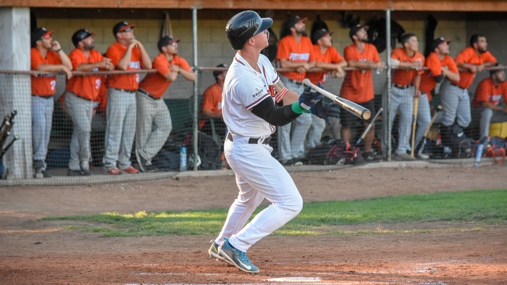 Kam Stewart follows through on his three-run home run in the second inning of the Sonoma Stompers game against the Pittsburg Diamonds, August 17, 2018 in Sonoma, Calif.(James W. Toy III / Sonoma Stompers)