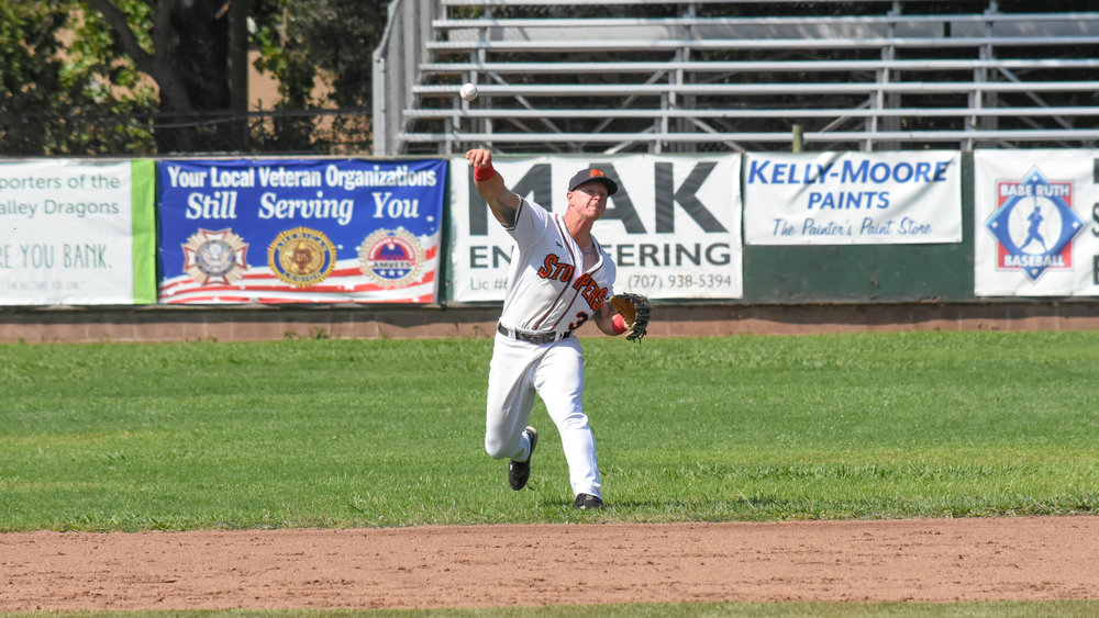 Kam Stewart makes a throw from short in the Sonoma Stompers game against the Martinez Clippers, August 19, 2018 in Sonoma, Calif.(James W. Toy III / Sonoma Stompers)