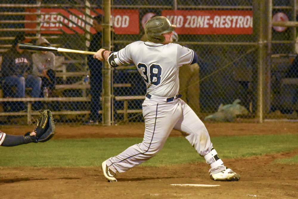 Bronson Butcher drive in the go-ahead run in the eighth inning of the Sonoma Stompers game against the Napa Silverados, August 28, 2018 in Napa, Calif.(James W. Toy III / Sonoma Stompers)