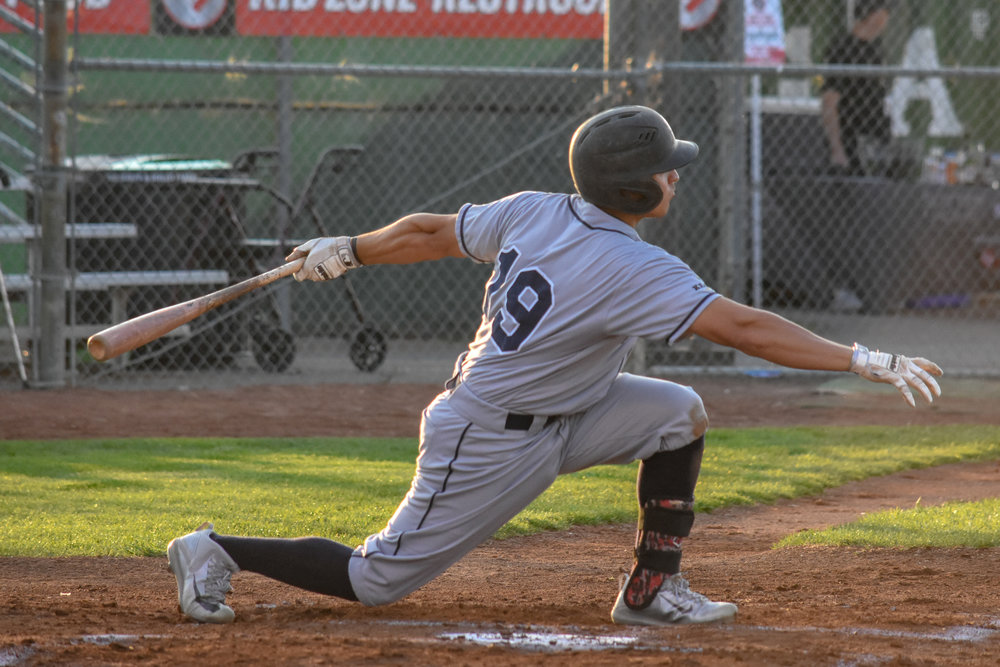 Tim Henry bats in the second inning of the Sonoma Stompers game against the Napa Silverados, August 29, 2018 in Napa, Calif.(James W. Toy III / Sonoma Stompers)