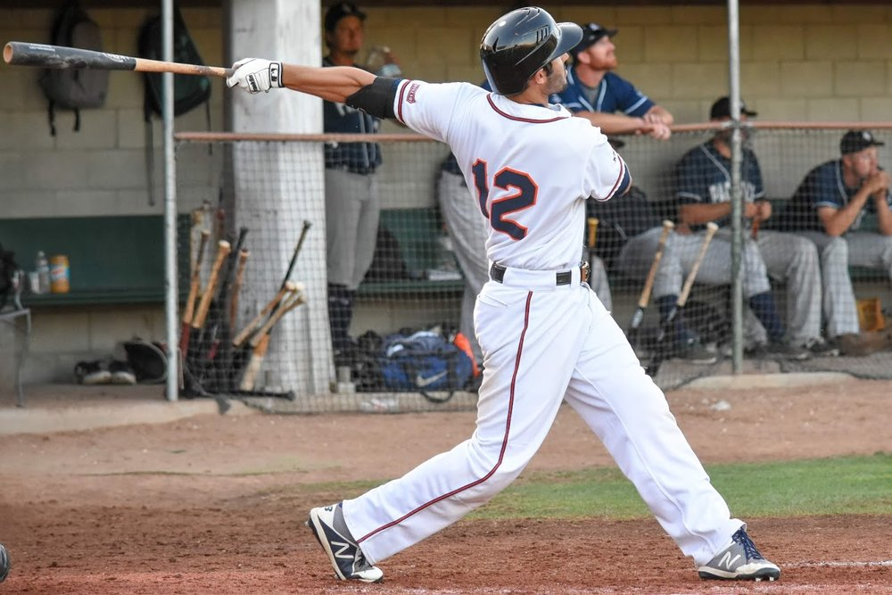 Kenny Meimerstorf hitting a home run against the San Rafael Pacifics, 2018 in Sonoma, Calif. (James W. Toy III / Sonoma Stompers)