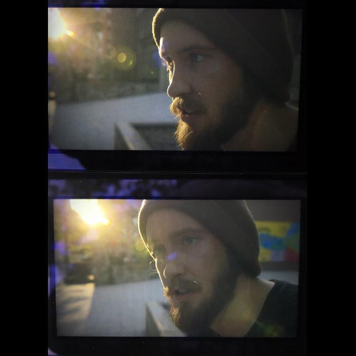 iPhone pics I took of footage playing right on off  C100  LCD monitor of medium sunset shots on Riverside that I filmed of Daniel interviews with the  Tokina Vista Zoom 16mm-28mm .