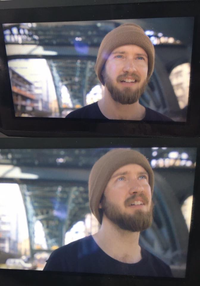 iPhone pics I took of footage playing right on off  C100  LCD monitor of medium shots under some overhead train tracks I filmed of Daniel interviews with the  Tokina Vista Zoom 16mm-28mm.  Amazing location that Daniel found.