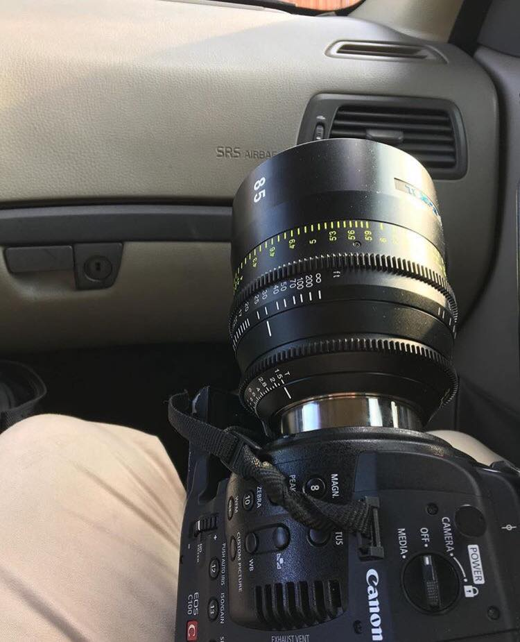 BTS of me during a drive to a skate spot with the perfect combination of camera and lens. The  C100  and the beastly  Tokina 85mm Vista Prime .