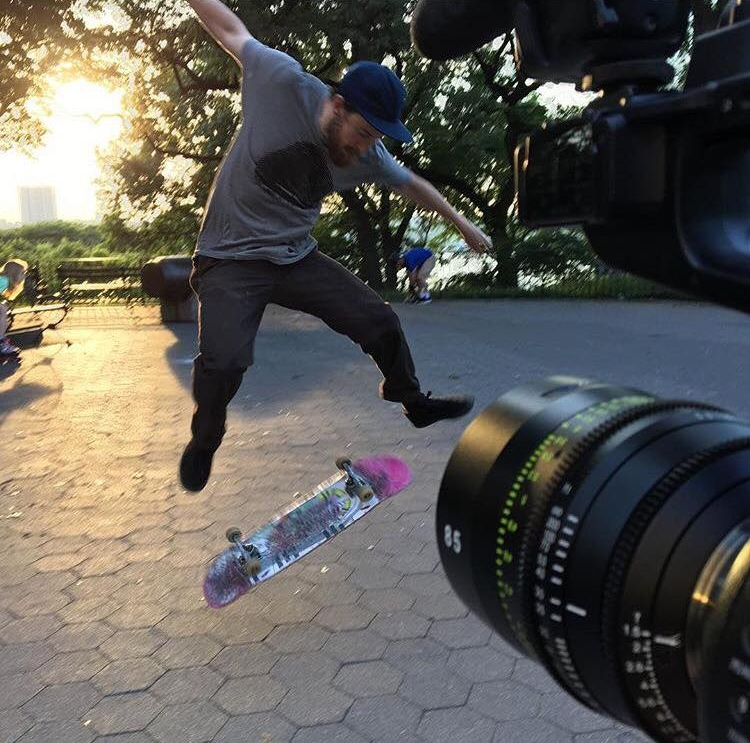 BTS of Daniel doing insane skateboard tricks in Riverside Park as I shoot closeups of them on the  Tokina 85mm Vista Prime . With a backlit sunset, you can get incredible silhouettes. And at this range, the details were really awesome to film.