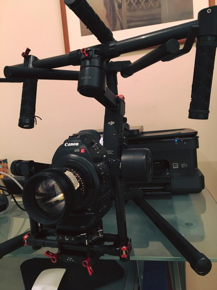 The  DJI Ronin-M  with the  Canon  C100 and  Rokinon  Cine 85mm Lens. A great combo!