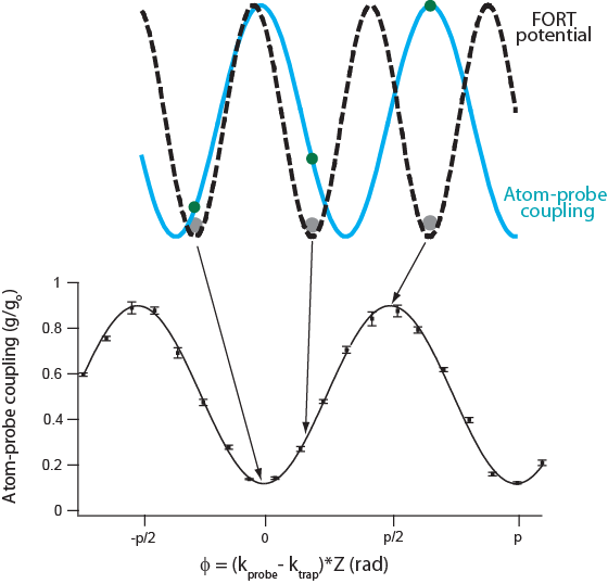 Top:  Schematic of atom-probe coupling for different well locations. Atoms (grey points) sit at the bottom of the FORT potential (black dashed line). Since the FORT wavelength is incommensurate with that of the probe, different wells lead to different levels of coupling (green dots on blue curve).  Bottom:  Experimentally obtained contrast plot highlighting the atom-probe coupling dependence on the location of the atom cloud.