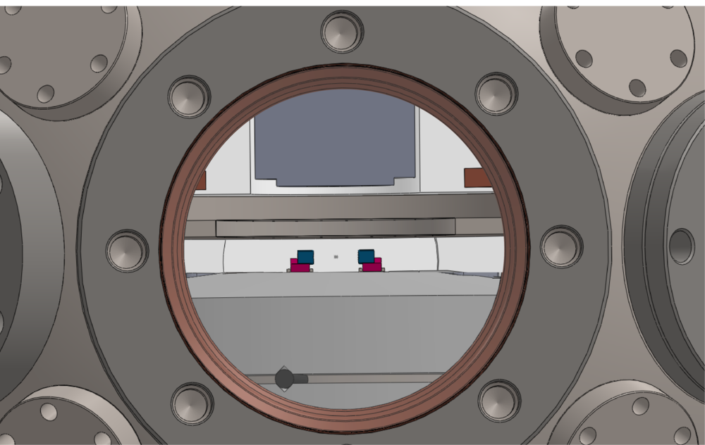 Cavity/science chamber design (spring 2019): the cavity mirrors are shown in blue. A bucket window allows us to place an out-of-vacuum objective (shown in gray, above the cavity) 13mm away from the cavity center for ~1um-resolution addressing and imaging.