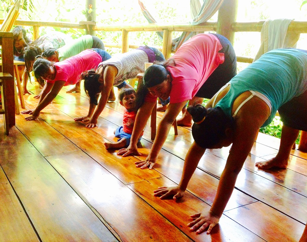 Yoga class with the womyn of the ngöbe bugle tribe and their kiddies in Boca del Toro
