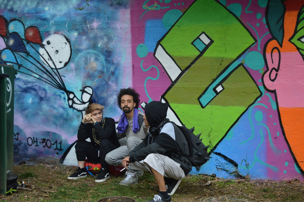 Yanina, Justin and David @ Words Beats & Life Paint Jam 2016 this past April 30 with their mural.    photo cred: Michelle Pierson