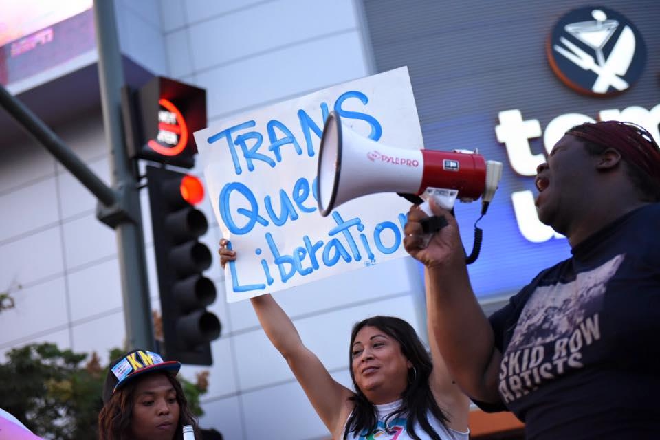 Jennicet Gutierrez at a rally