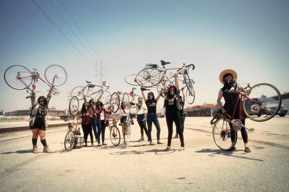 """Ovarian Psycos,""  USA [2016]  Riding at night through streets deemed dangerous in Eastside Los Angeles, the Ovarian Psycos use their bicycles to confront the violence in their lives.   A film by Joanna Sokolowski and Kate Trumbull-LaValle"
