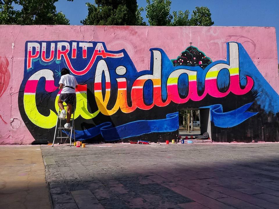 Mural en Barcelona junto a  #Berol3s7 en Para-lel las tres torres.FOTO CREDIT: Carga Máxima