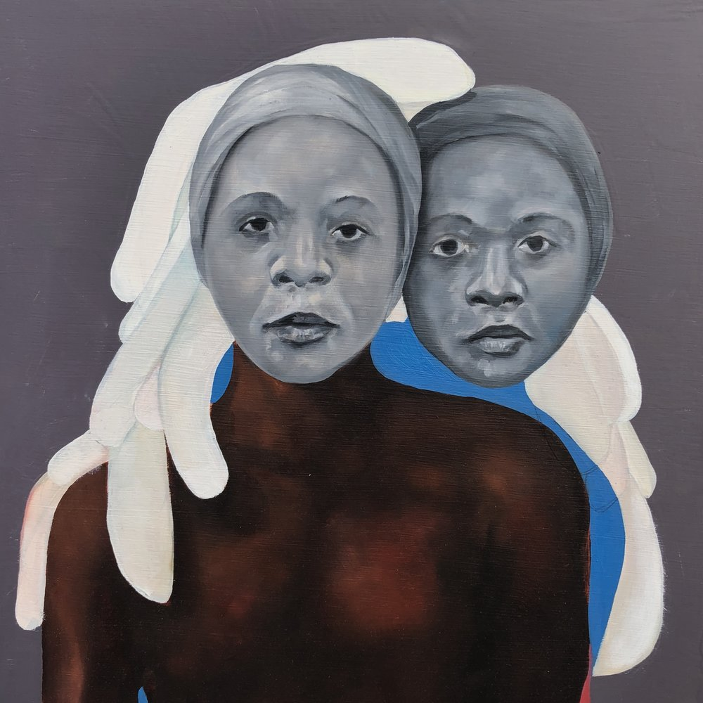 nowbreatheandtakeastepback, portraits of alphonza , 2018                          oil and enamel on wood 16 x 16 in.