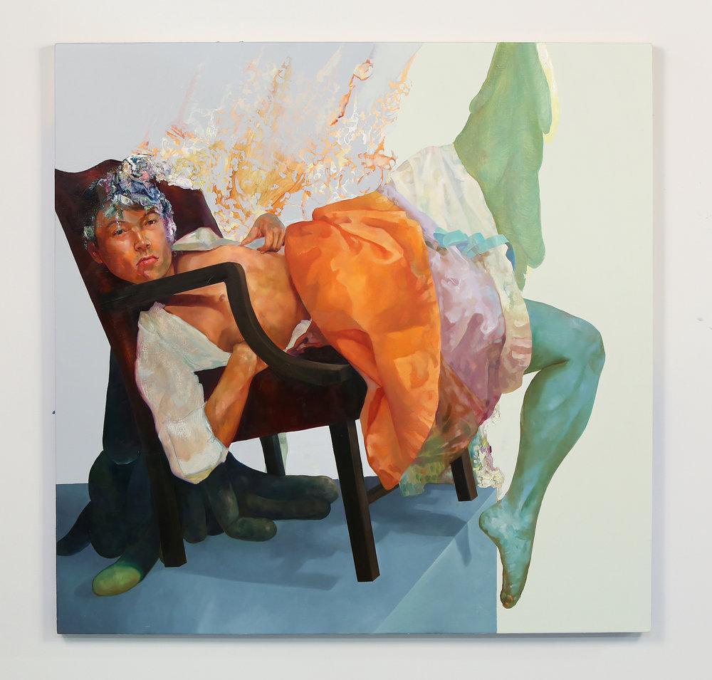 itsnotthatseriousitsjustoneofyourlittleprincesses, 2016.                   oil and enamel on wood panel.                                                                                  48 x 48 inches