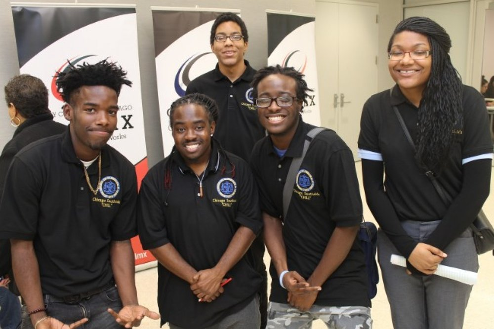 The CHILL trainers (left to right): D'Atrey Brinson, Devin Swift-Bailey, Judge Moore, Jonathan Jackson, and Janea Moore at the Get in the Game Teen Summit on Nov. 18 at Malcolm X College in Chicago. (Photo credit: Philip G. Tarver)