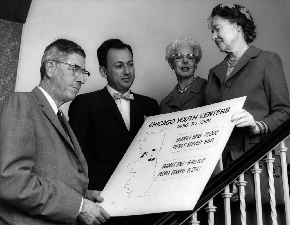 LEft to right: Elliott donnelley, sidney epstein, caroline wallerstein, and julia bowe in 1960.