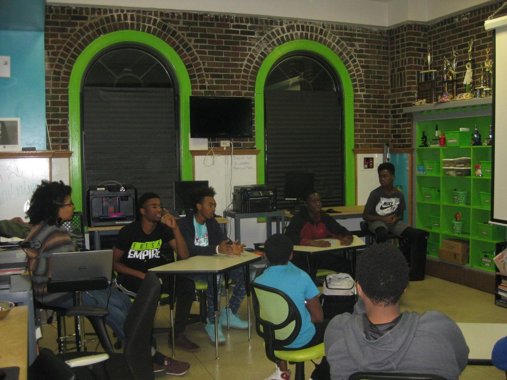 Teens at CYC-Sidney Epstein Youth Center engage in a discussion about keeping violence out of social media during a lock-in event.