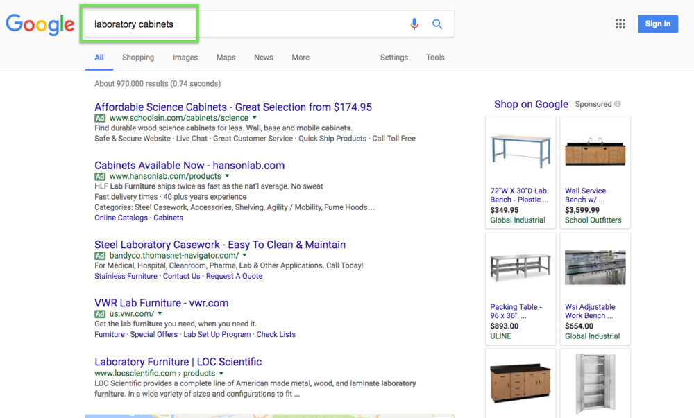 "Adwords test search for ""Laboratory Furniture"""