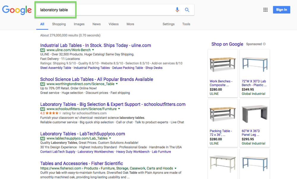 "Adwords test search for ""Laboratory Table"""