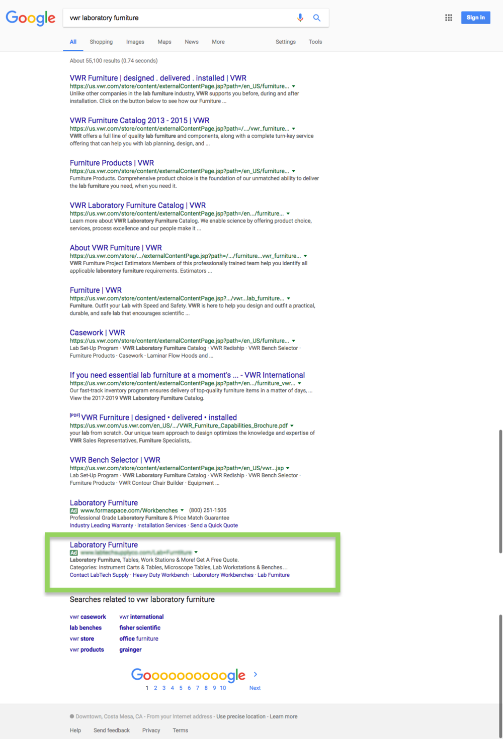 "Adwords Test Search for ""VWR Laboratory Furniture"""