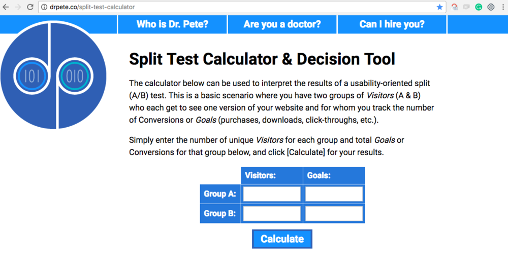 Dr. Pete's split tester!