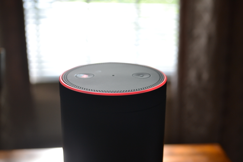A muted Amazon Echo