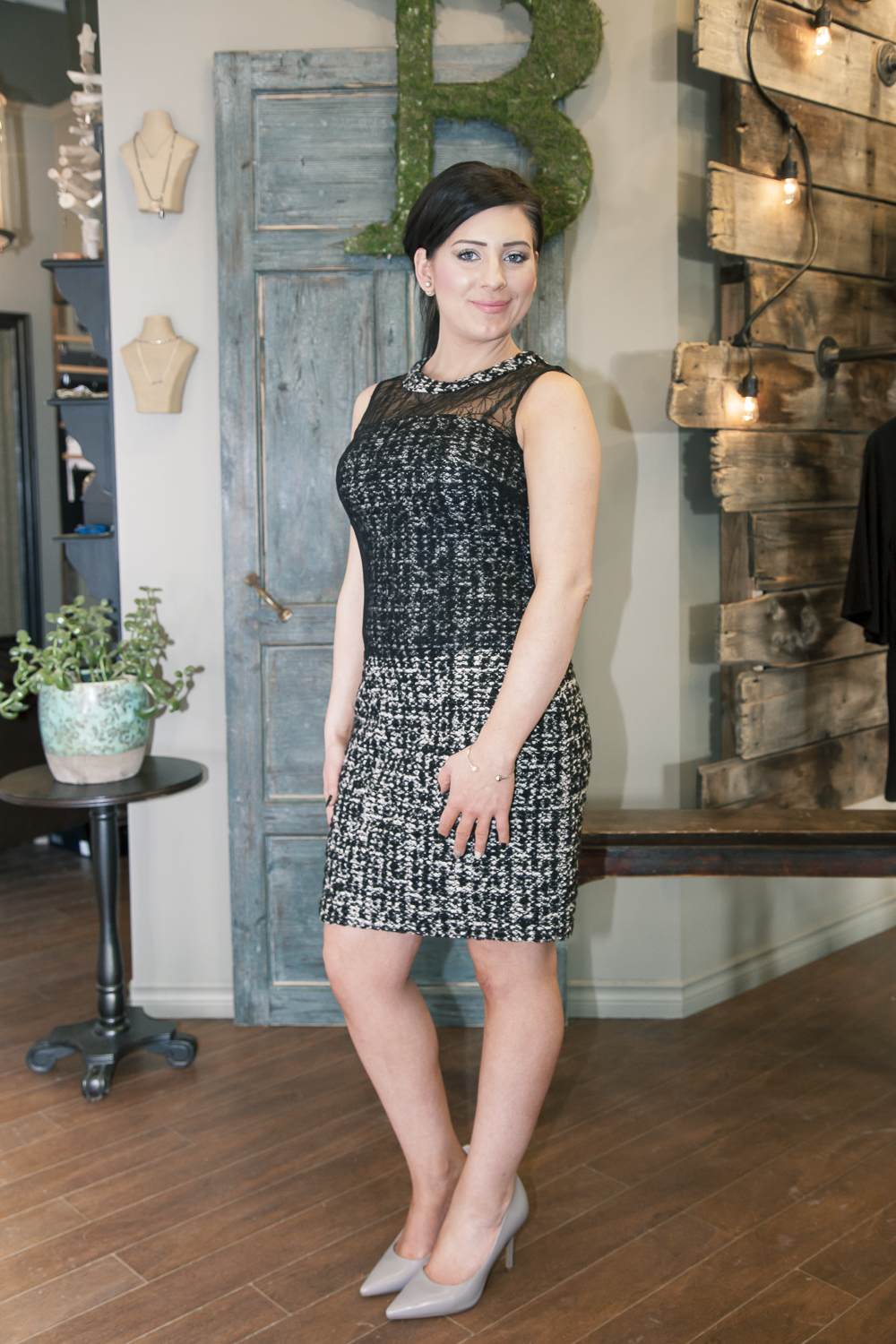 Bella-Maas-Edmonton-style-fashion-tweed-lace-bailey-44-black-and-white-jackie-dress