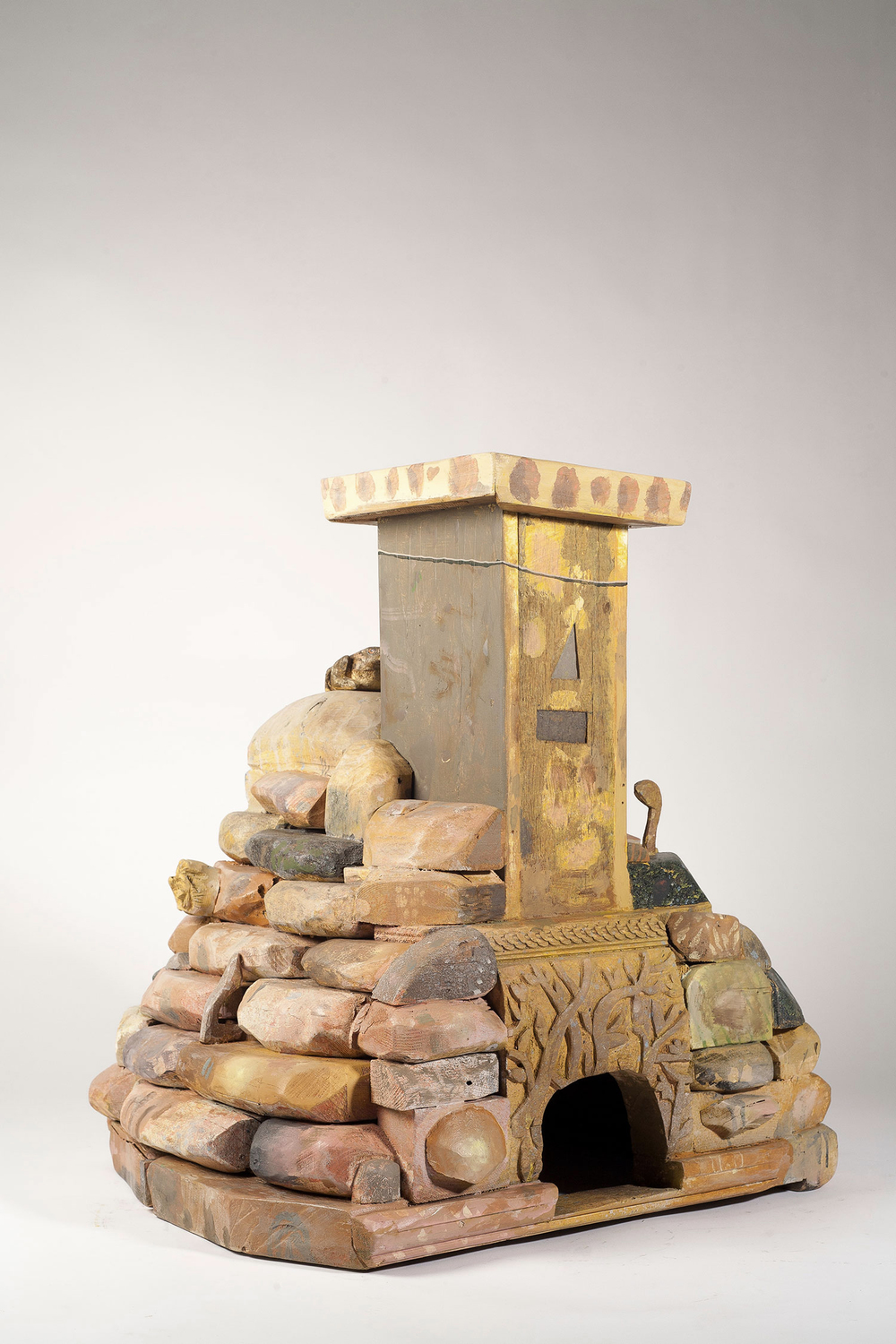 Bread oven, wood and paint, 26x24x26 inches, 2016.