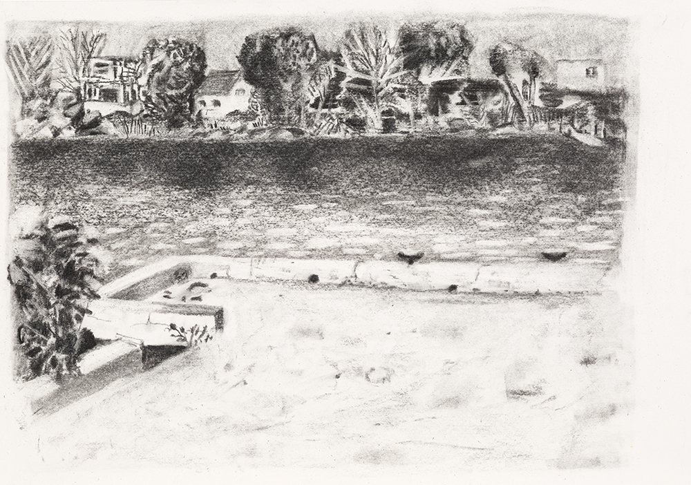 Richelieu river, charcoal on paper, 15x21 inches, 2014