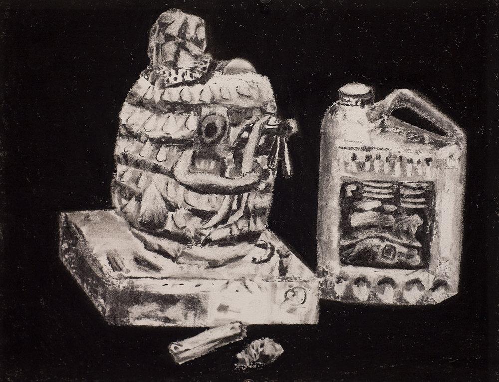 Tête à bijoux, charcoal on paper, 16x20 inches, 2016