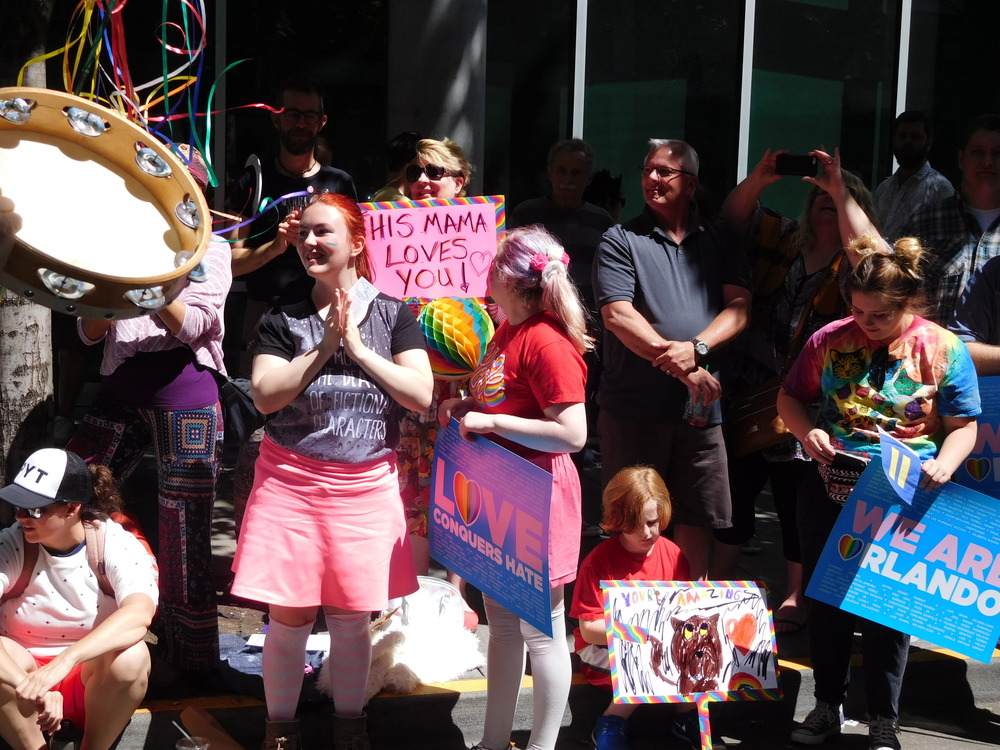 Mothers and children at the Pride parade, Portland OR, June 16,2016