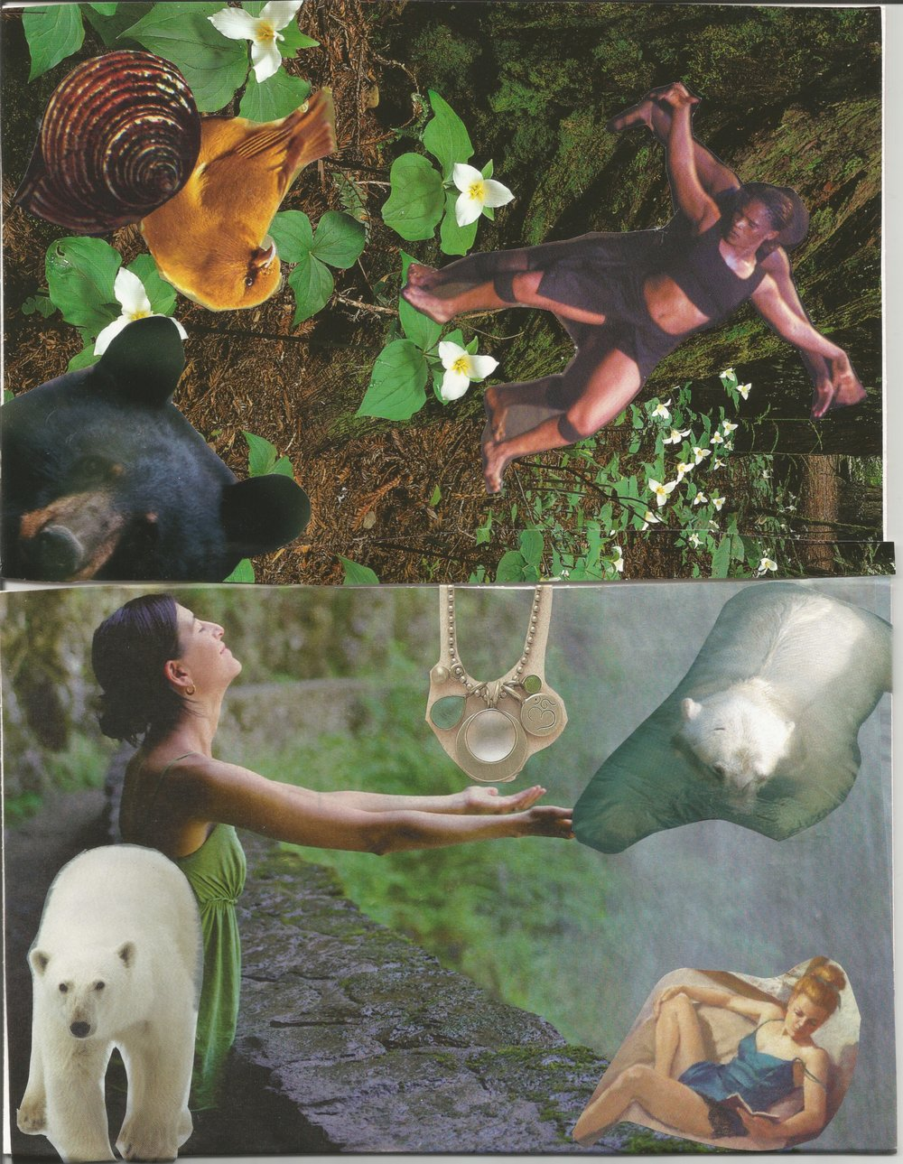 Examples of two collages I have done in recent years-water, trees, bears, spirals, and of course women, appear in many of my collages.