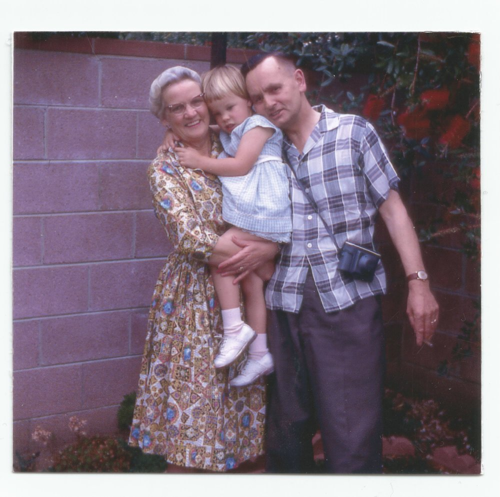 Three year old me with Grandma and Granddad, CA 1962.