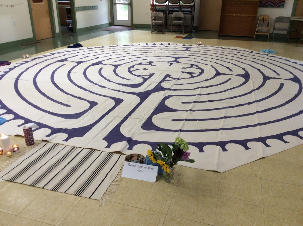 Anne's labyrinth set up for a workshop.