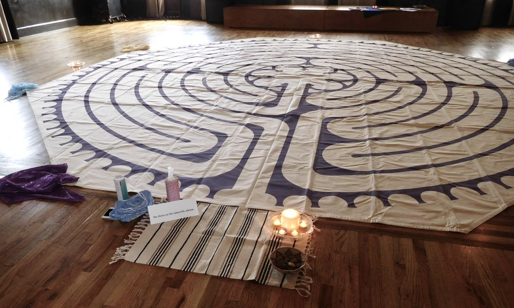 Labyrinth set up in preparation for March 2017 Journey Through Loss workshop.