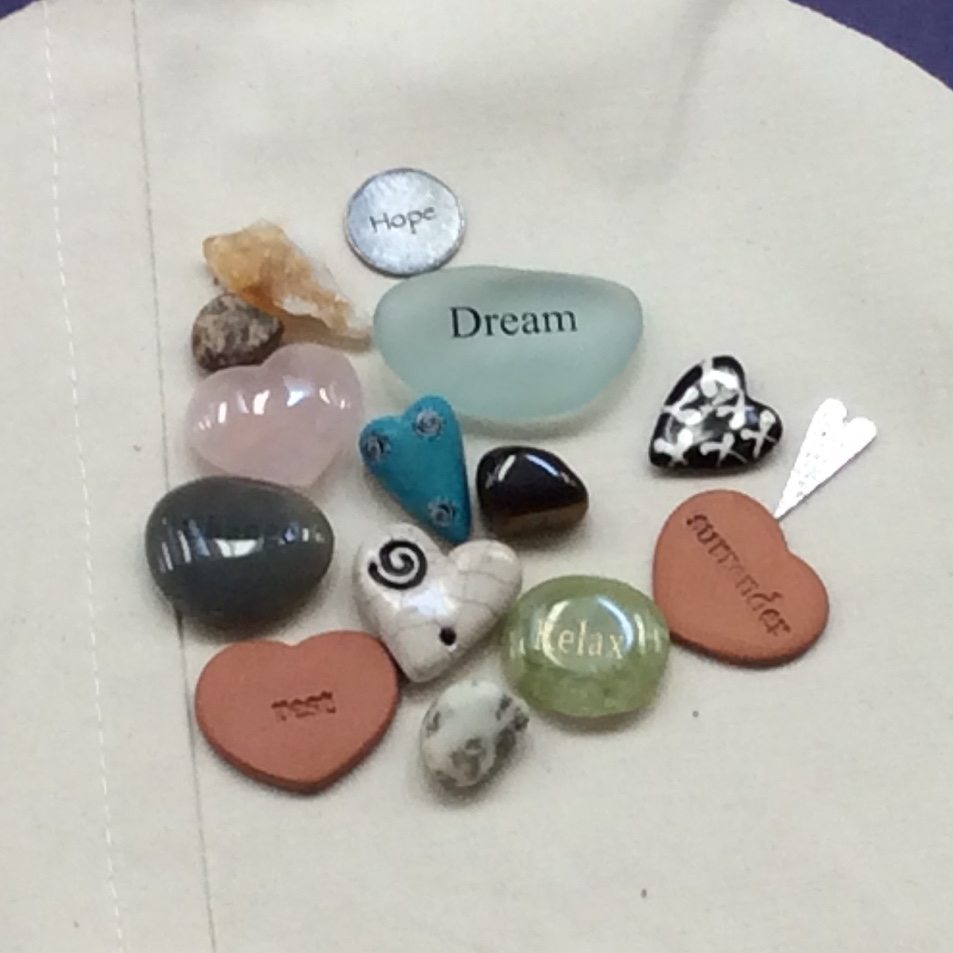 Word stones & hearts.