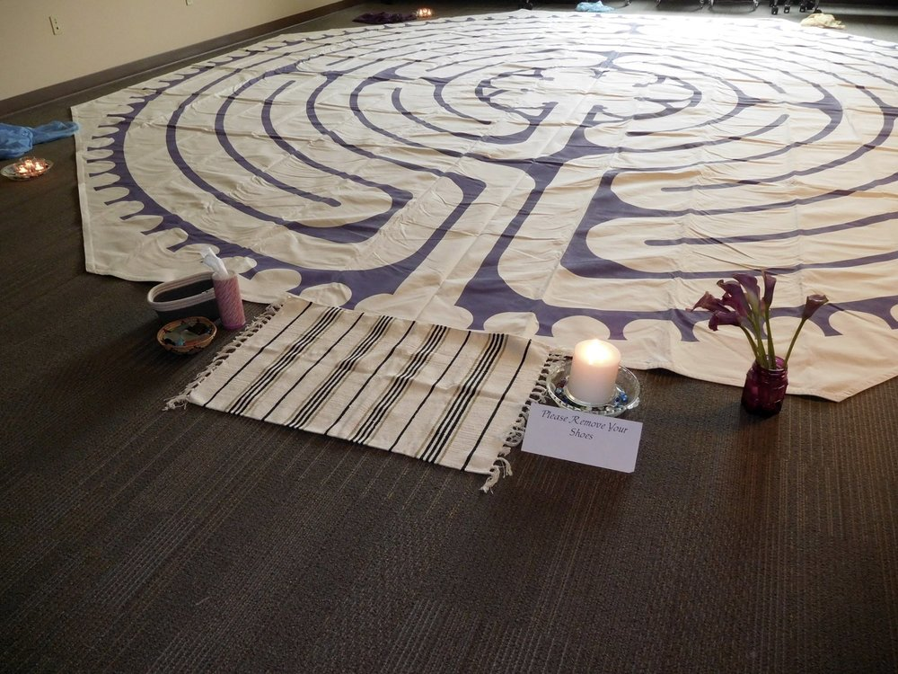 Anne's 22' modified Chartres canvas labyrinth.