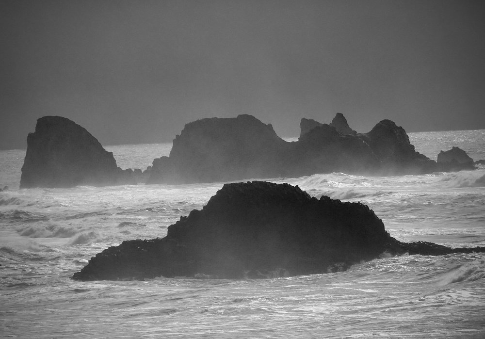 Unmoored grief and stormy seas—both unsettling. photo by anne richardson. Indian Beach, Ecola State Park, Oregon.