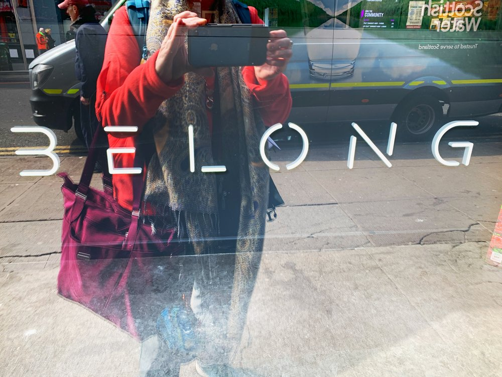 """""""Belong."""" Most people I talk with yearn for a sense of belonging. Glasgow city centre."""