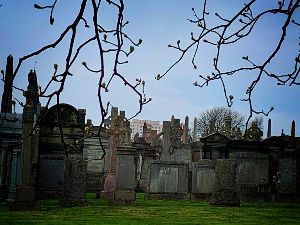 Glasgow Necropolis, a gathering of gravestones.
