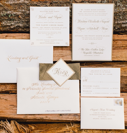 Calligraphy  by Dede Adams Calligraphy;  Ritz Carlton Lake Oconee Wedding,  Photo by Vue Photography