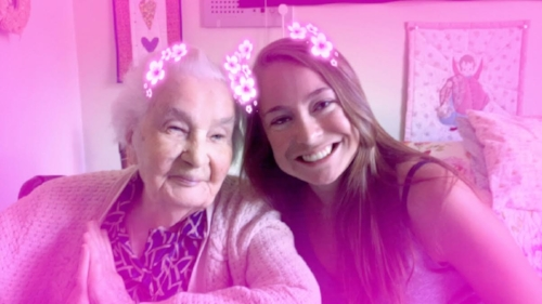 visits with my Mo  čiute (grandma)