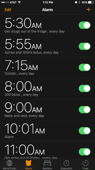 The first quarter of my alarms.