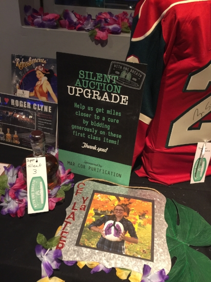 Pictures of her were scattered about the tables at the silent auction to remind people that the items are sold to help people with CF.