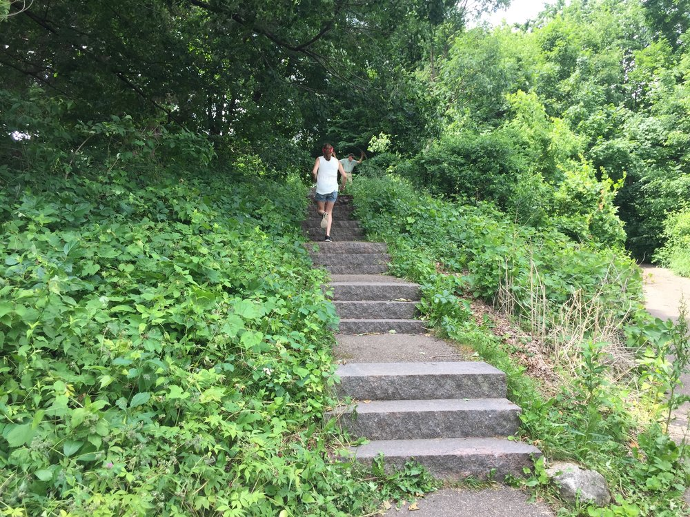 Running up some stairs